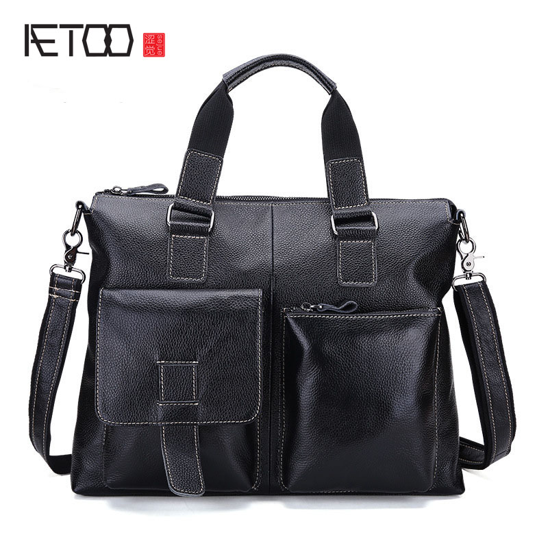 AETOO new Korean fashion leather bag portable Shoulder Messenger Bag Leather Men bag tide aetoo new leather diagonal female bag korean fashion tassel lady bag leather shoulder messenger bag