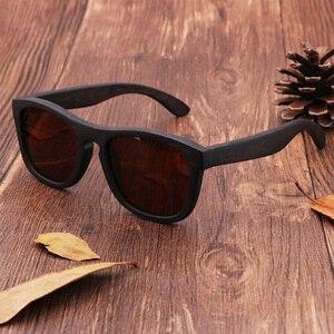 Image 2 - Retro uomini donne occhiali da sole polarizzati Nero Per Bambini in legno Coppie occhiali da sole fatti a mano UV400 Con scatola di legno di bambù
