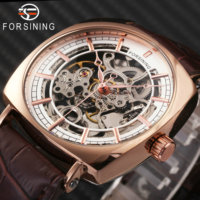 FORSINING 2018 Men Watches Top Brand Luxury Skeleton Watch Auto Mechanical Wristwatch Leather Strap Tonneau Design