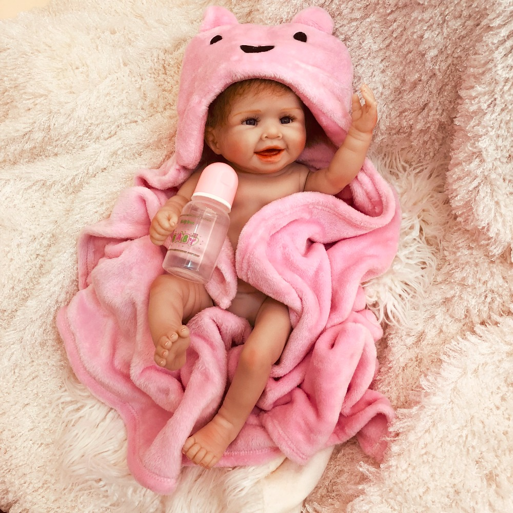 Sweet Smile Girl Reborn Baby Doll 20inch Silicone Vinyl Lifelike Infant Educational Beautiful Bath Toys Kids Gift Bebe Reborn