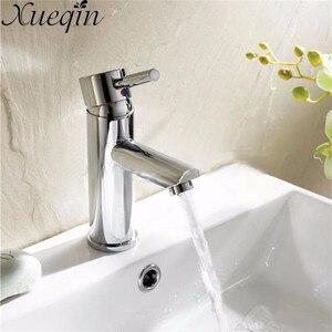 Image 1 - Xueqin Messing Einzigen Handgriff Bad Chrom Mischbatterie Waschbecken Bad Heißer/Kaltwasser Einzigen Loch Küche Becken Wasserhahn Deck montiert