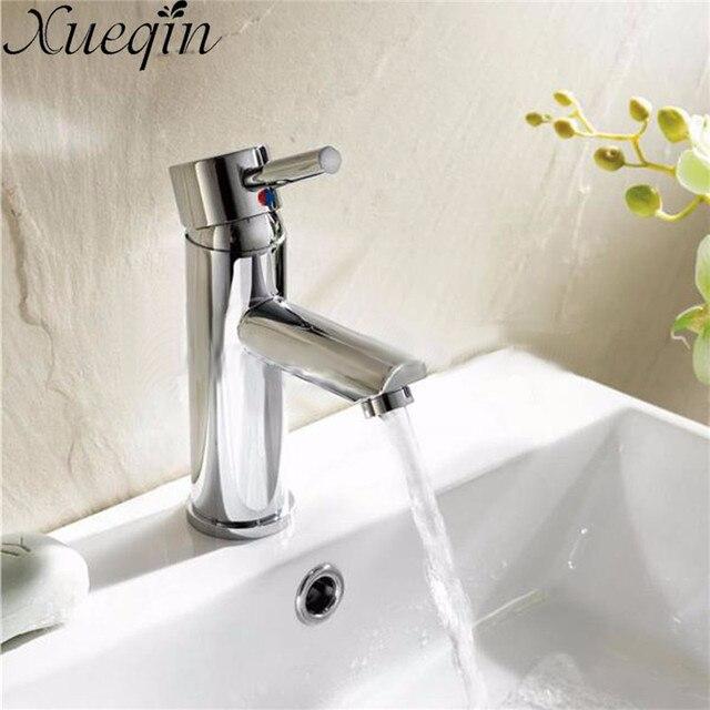 Xueqin Messing Einzigen Handgriff Bad Chrom Mischbatterie Waschbecken Bad Heißer/Kaltwasser Einzigen Loch Küche Becken Wasserhahn Deck montiert