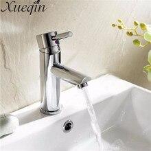 Xueqin grifo monomando de latón para baño, grifo mezclador cromado para baño, agua caliente/fría, grifo de un solo orificio para lavabo de cocina, montado en cubierta