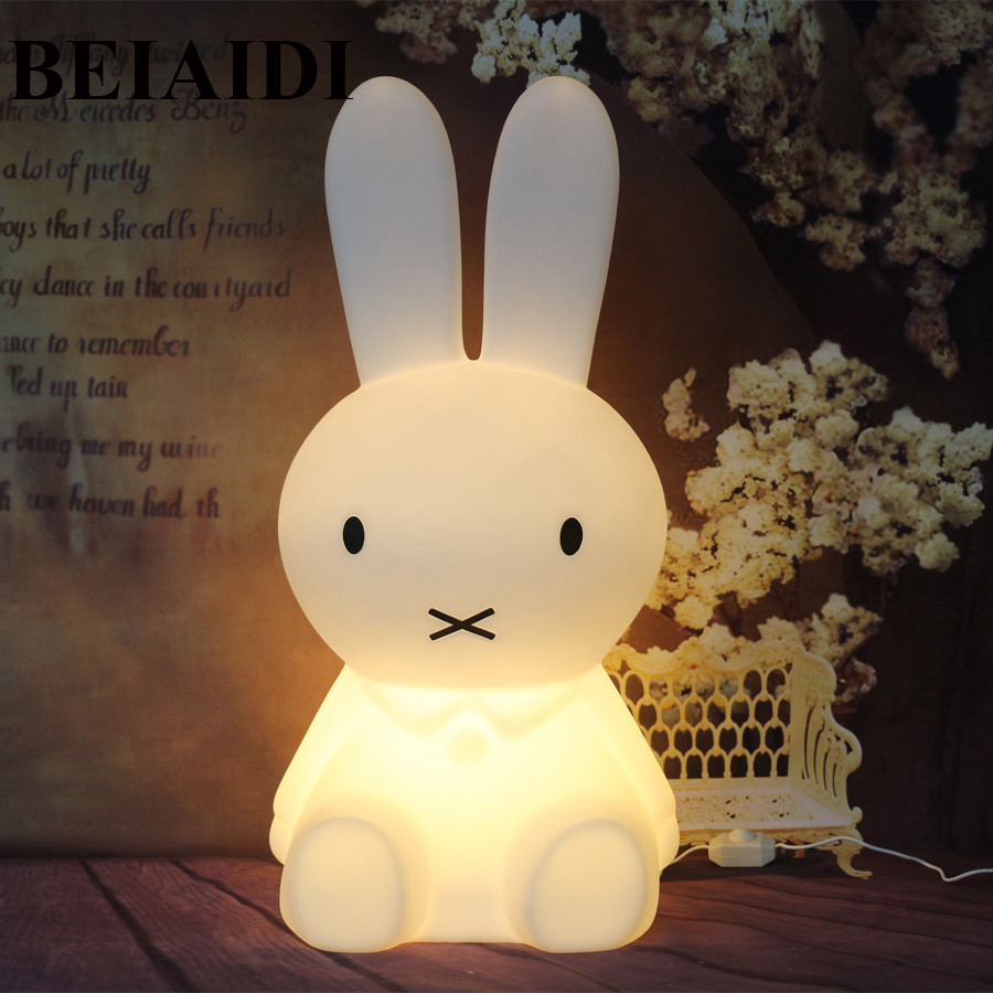 BEIAIDI Big Rabbit Bear Dimmable Led Night Light Animal Cartoon Bedroom Desk Table Lamp for Baby Children Kids Christmas Gift kawaii animal lamp 3d led night light lovely cartoon rabbit multicolor change table home child bedroom decor kids birthday gift