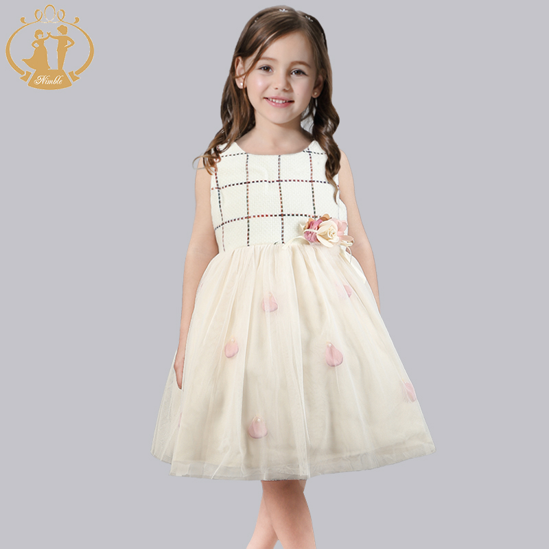 ФОТО Nimble Dress for Girls Handmade Beading Flower Bow Woollen Plaid Dresses