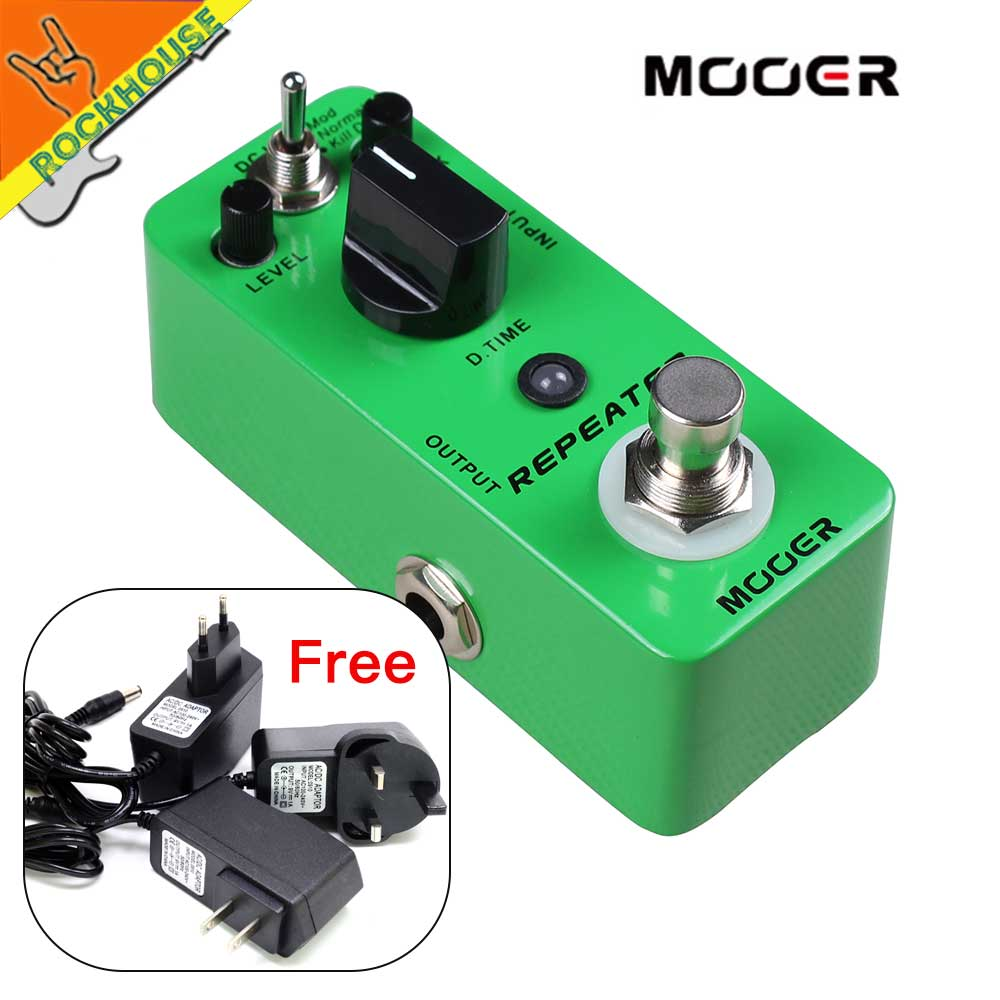 MOOER Repeater Delay Guitar Effects Pedal 3 Working Modes: Mod/Normal/Kill Dry 1000ms Delay Time True Bypass Free Shipping mooer single acoustic delay chorus effects true bypass baby water effect guitar pedal