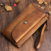 Genuine Cow Leather Long Mens Card Wallet Multifunction Wristlets Vintage Cowskin Purse Man Wallet Leather Male Large Clutch Bag