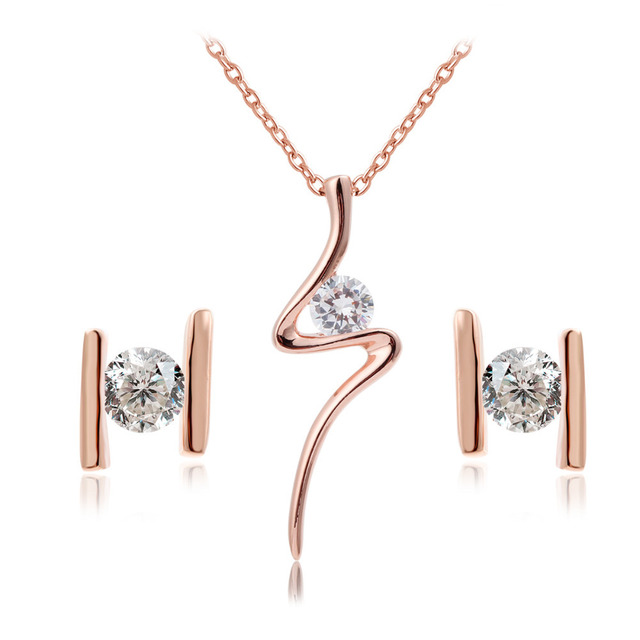 New Women Costume Jewelry Sets 18K Rose Gold Plated Lighting CZ