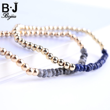 BOJIU Fashion Bracelet Gold-Color Natural Stone Elastic Copper Beaded Women BC56