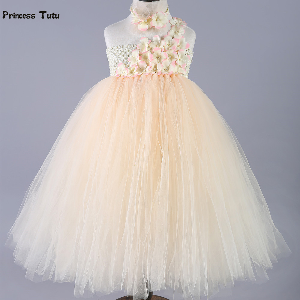 Champagne Girls Tutu Dress Tulle Princess Dresses Single Shoulder Flower Girls Wedding Dress Kids Birthday Party Prom Ball Gown puffy flower girls dresses ivory champagne tulle bling gold sequins top keyhole back baby ball gown long tutu dress for wedding