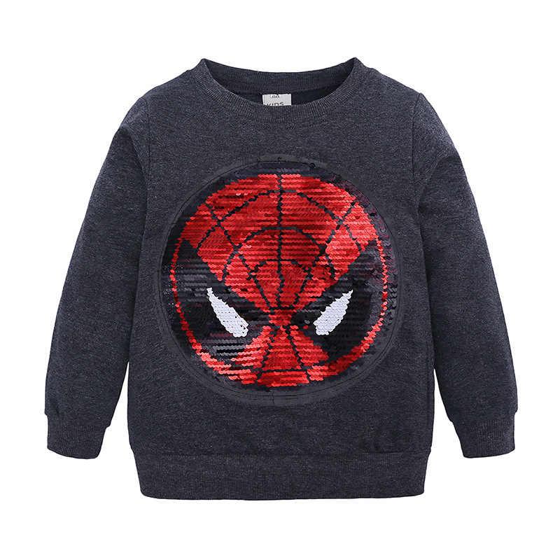 디즈니 봄과 가을 어린이 스웨터 만화 긴 소매 스웨트 스팽글 소년 캐주얼 라운드 칼라 스웨터