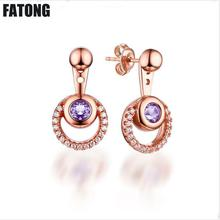 Fashion new 925 sterling silver jewelry Diamond amethyst earrings female creative wild wholesale J0165