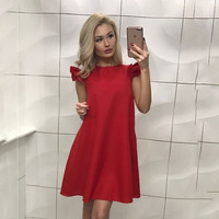 Fashion Casual Cute Women Dress Loose Solid Short Sleeve Beach Party Dress Ukraine Style 2017 Summer