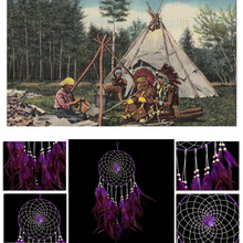 Beautiful purple feather dream catcher large wall hanging decoration ornament