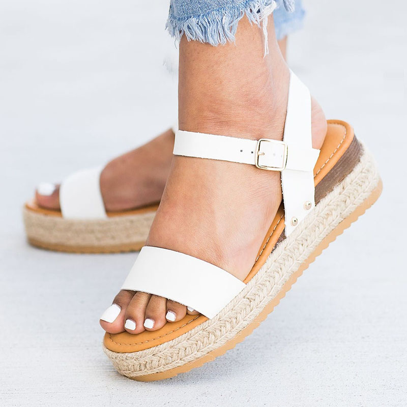 Woman Sandals 2019 Summer WomenS Shoes With Platform Sandals Pu Leather Buckle Rome White Sandals Lady Shoes Plus Size 35-43 Woman Sandals 2019 Summer WomenS Shoes With Platform Sandals Pu Leather Buckle Rome White Sandals Lady Shoes Plus Size 35-43