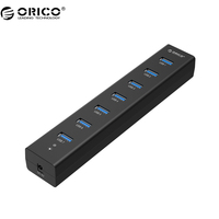 ORICO With 5V2A Power Adapter High Speed 7 Port USB 3 0 HUB Blue H7013 U3