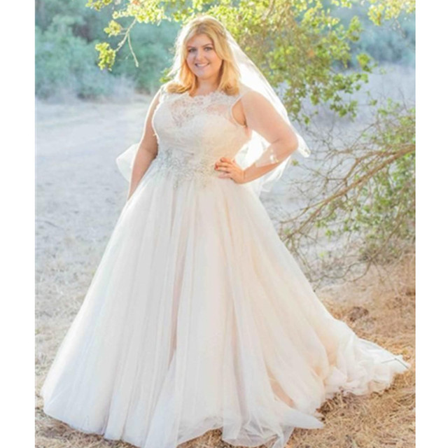 Plus Size Ball Gown Wedding Dresses Tulle 2017 Garden Bridal Corset Modern Custom Made Lique