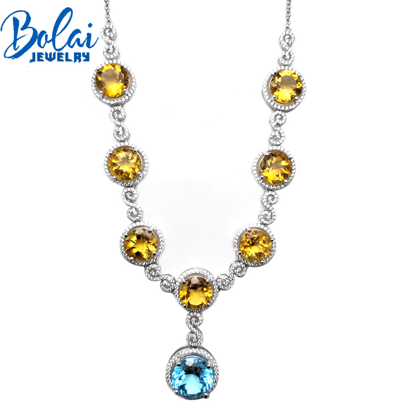 Bolaijewelry,necklace &pendant natural topaz and citrine gemstone 925 silver sterling fine jewelry woman engagement party gift