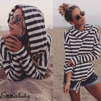 New Arrival Stripe Casual Loose Hooded Jumper Pullover