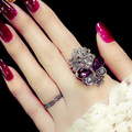 Retro Big Purple Butterfly Ring Shaped Stereo Amethyst Crystals Ring 18K Gold plated Women Party Jewelry