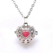 10 Unids Medallón Corazón Aromaterapia Aceite Esencial Difusor de Perfume Collares Medallón de Filigrana de la Jaula de Bolas De Fieltro Para El Regalo