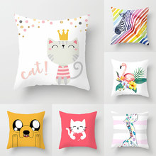 Cute Cat Cushion Cover Cartoon Animal Cat Dog Polyester Throw Pillow Case Cover Unicorn Flamingo Decor Pillowcases Kussenhoes(China)