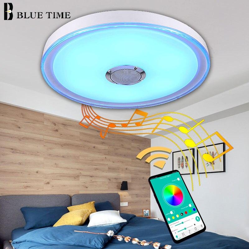 Simple moderne Led lustre plafond monté Bluetooth haut-parleur Musica lampe lustre éclairage 49cm 36W acrylique couverture métal corps