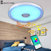 Simple Modern Led Chandelier Ceiling Mounted Bluetooth Speaker Musica Lamp Chandelier Lighting 49cm 36W Acrylic Cover Metal Body