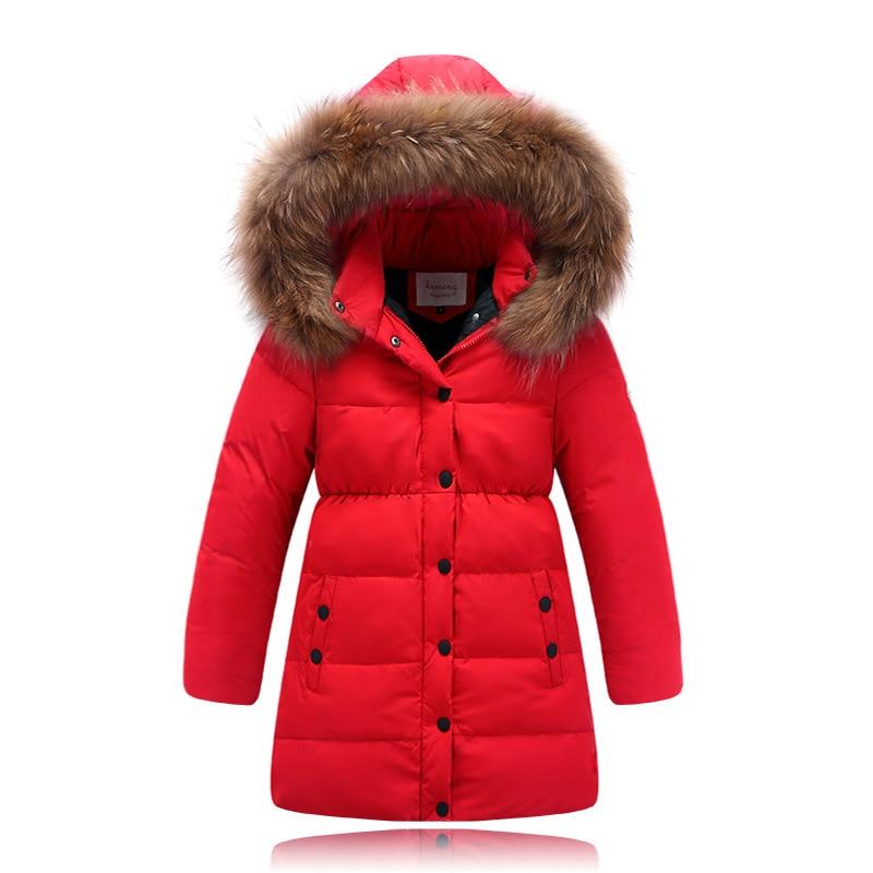 5024ee330 Winter Girls Down Jackets Fur Collar Thick Warm Long Zipper Hooded ...