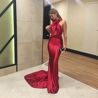 Sexy Mermaid Maxi Dresses Gown DIY Straps Open Back Shiny Green Wine Satin Bodycon Backless Evening Party Dress Club Dress