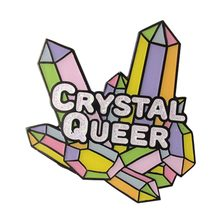 Crystal Queer Emaille Pin Glitter Quartz Cluster Broche Lgbt Rainbow Pride Badge Pastel Art Sieraden Magical Cadeaus Voor Haar(China)