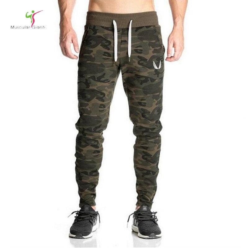 2017 de alta calidad marca pantalones Fitness Casual pantalones elásticos bodybuilding ropa casual camuflaje sweatpants Pantalones