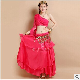 New Arrival nice Belly Dance Costumes Top+Skirt dancing practise Dress Set 2pcs/set hot selling 4 colors
