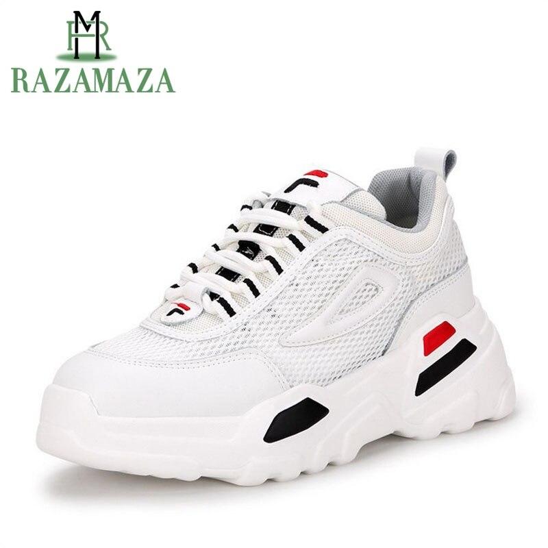 RAZAMAZA femmes compensées baskets en cuir véritable plate-forme décontracté blanc chaussures pour femmes en plein air marque Fitness Sneaker taille 35-39