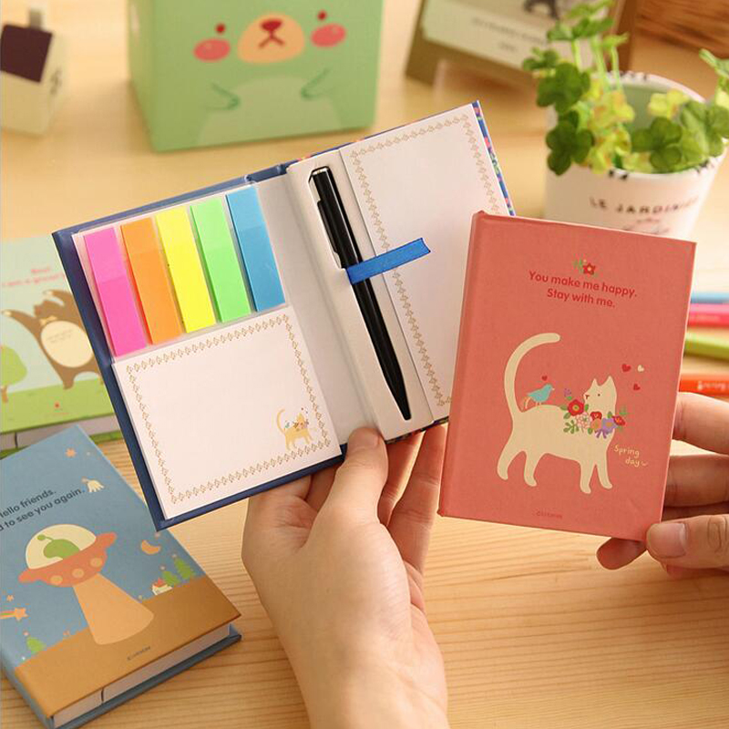 2 pcs/Lot Cute Office Memo Pad Kawaii Hard Cover Sticky Notes Post it Stickers Paper Stationery Office Material School Supplies
