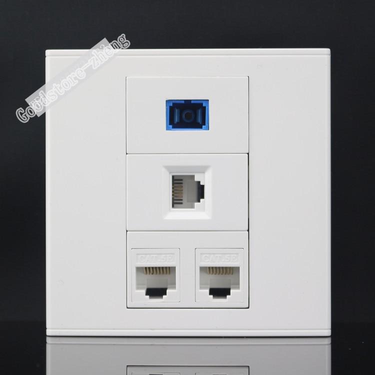 Настенной розетки 4 Порты и разъёмы RJ11 телефон и двойной RJ45 Cat5e сети LAN и SC волоконно-оптических Панель лицевой панели 86x86 мм