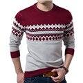 Suéter Hombres suéter de Los Nuevos Hombres de La Manera Cultiva su moralidad Cuello Redondo Color de La Raya de Ocio Mens Suéteres Ropa
