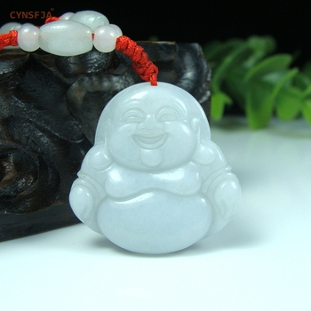 CYNSFJA Real Certified Natural A Grade Burmese Jadeite Charms Amulet Buddha Jade Pendant High Quality Hand-Carved Best Gifts
