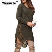 Missufe Long Sleeve Sexy Trendy Dresses Autumn High Low Hem Irregular Vestidos Clubwear Side Split Sweater Women Knit Dress