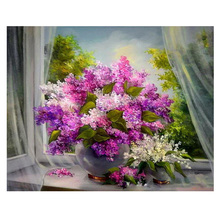 RIHE Blooming Flower Painting By Numbers Window Vase Oil On Canvas Hand Painted Cuadros Decoracion Acrylic Paint Art
