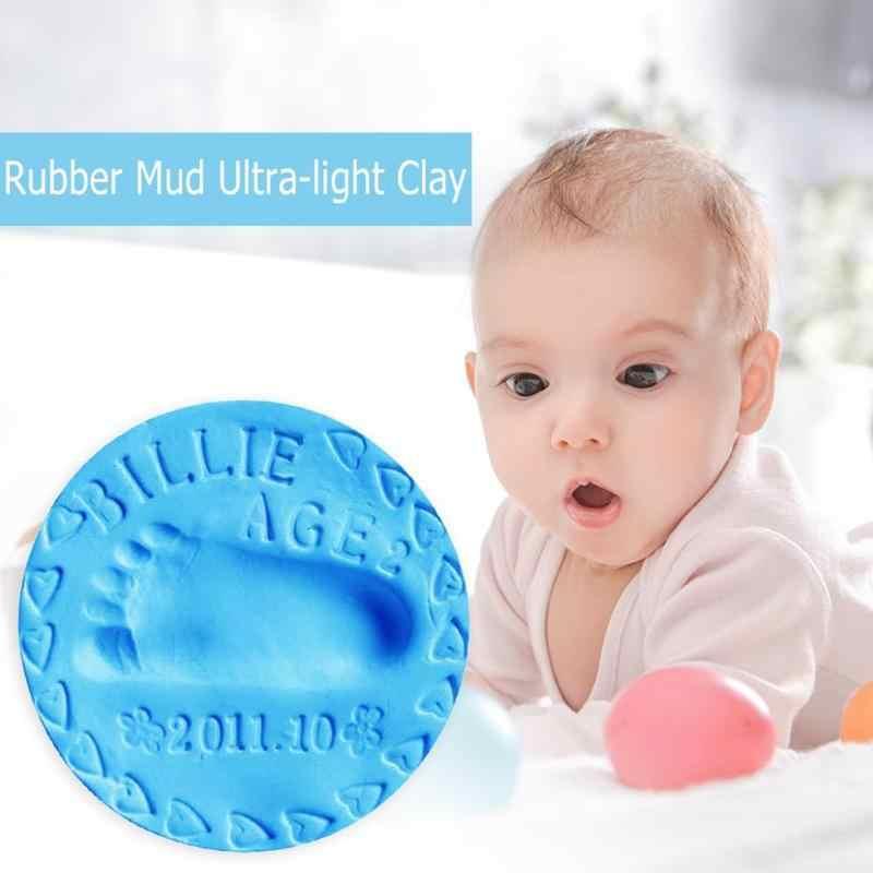 2pcs ยางโคลน Ultra-light Clay Handprint โคลนเด็กของเล่นเพื่อการศึกษาเด็ก Growth หน่วยความจำของขวัญทารก Handprint รอยเท้า