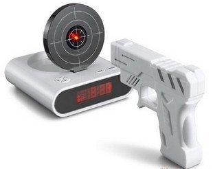 2011 hot new !!!Free Shipping Oversleep Killer- Fashion & Novelty clock Gun Alarm Clock Retail