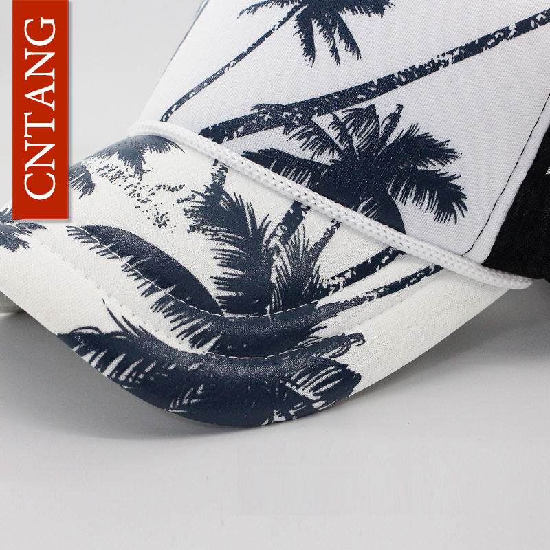 9d6fdfdac0e Aliexpress.com   Buy CNTANG Summer Trucker Hat Women Men Mesh Baseball Cap  Fashion Hip Hop Print Coconut Tree Caps Snapback Casual Sun Hats Unisex  from ...