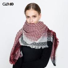 [OuMo] brand Cashmere women's scarf Retro geometric pattern shawl Female fashion Large size square 135*135cm Keep warm scarf multi function deer pattern cashmere warm keep hat scarf black white