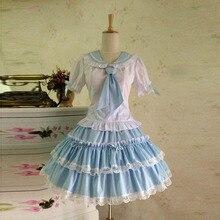 Summer Pink Blue Cute Lovely School Princess Lolita Dress Girl Women Sweet Kawaii Classic Gothic Navy Sailor halloween Dress