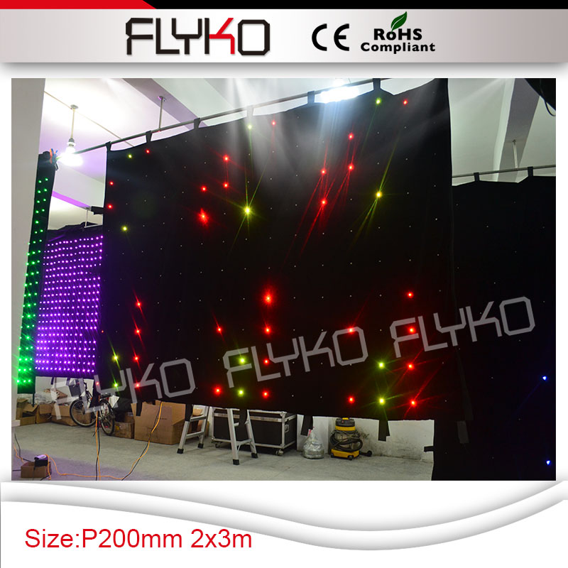 Factory Supply P200mm 2x3m Led Animation Curtain Programmable Led Video Screen