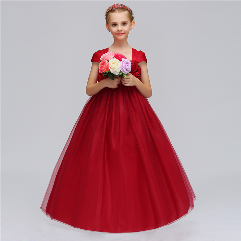 European Style Girls Wedding Tutu Fancy Dress Costume Christmas Wedding Evening Party Long Flower Dress Up Kids Clothing 12 Year girls christmas xmas dresses kids girls princess party carnival tutu dress baby girl red new year fancy party dress up outfits