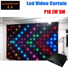 P18 2M*6M Fire Proof LED Video Curtain With Off Line Controller For DJ Wedding Backdrops 90V-240V Anti-Fire Swan flannelette