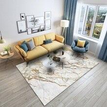 Alfombra de moda de estilo europeo de mármol dorado y blanco de imitación, Alfombra de terciopelo para dormitorio, alfombra antideslizante personalizada para sala de estar y cocina