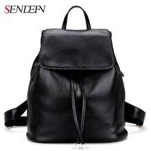 Sendefn mochila de gran capacidad de cuero genuino de hombro de cuero negro bolsa de la escuela las mujeres mochila bolsas de viaje
